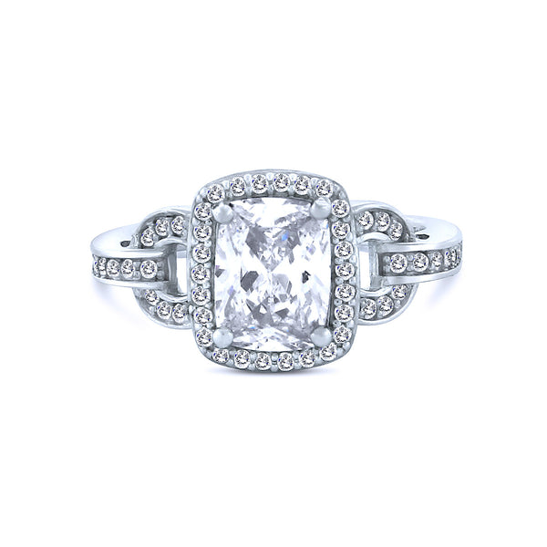 Emerald Cut Silver Chandi Diamond Halo Ring w/ Chandi Diamond Crystal Links