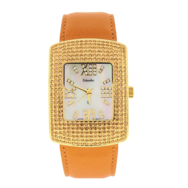 Gold Satin Band with Swarovski Crystal and Mother of Pearl Watch