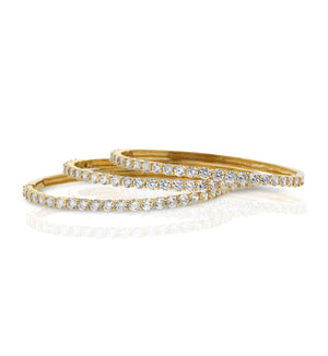 Round Gold Clasic CZ Bangle Bracelet Round Stones