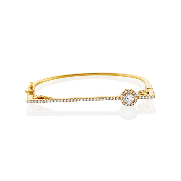 Gold CZ Bangle Bracelet w/ Round Chandi Diamond & Swarovski Crystals