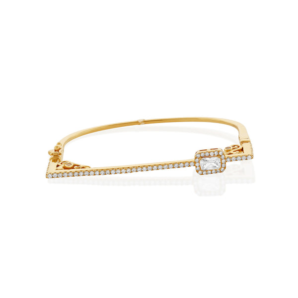 Chandi Diamond Gold CZ Bangle Bracelet Set w/ Swarovski crystals by Bobby Schandra