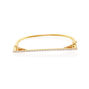 Chandi Diamond Gold Bangle Bracelet w/ Swarovski crystals by Bobby Schandra