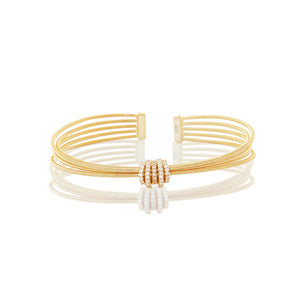 Chandi Diamond Gold Plated Love Knot Cuff by Bobby Schandra