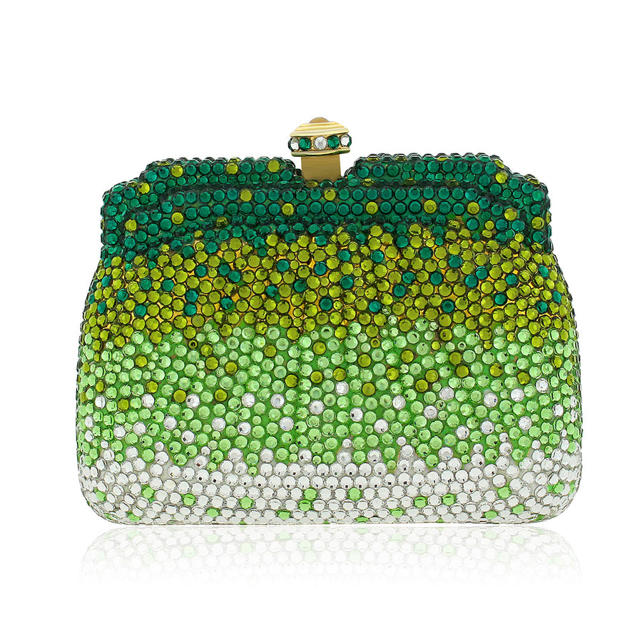 Green, Gold and Clear Swarovski Crystal Evening Clutch