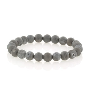 Grey Druzy Beaded Bracelet by Bobby Schandra