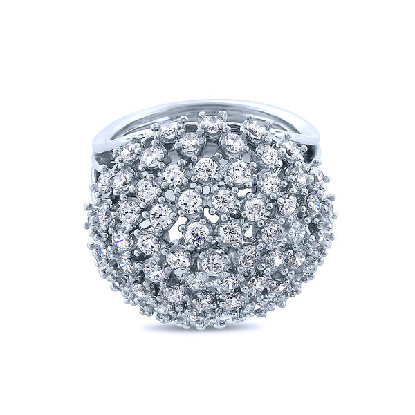 Silver Disco Cocktail Ring w/ Swarovski Crystals by Bobby Schandra