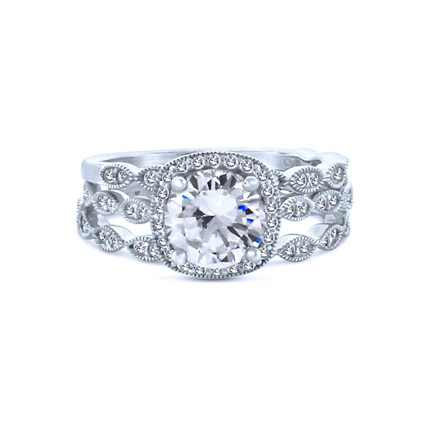 Silver Round Chandi Diamond Ring w/Swarovski Crystal Halo and Triple Band by Bobby Schandra