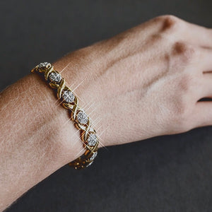 swarovski-crystal-womens-x-and-o-tennis-bracelet-gold