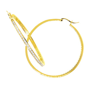 Large Gold Hoop with Round Chandi Diamonds by Bobby Schandra