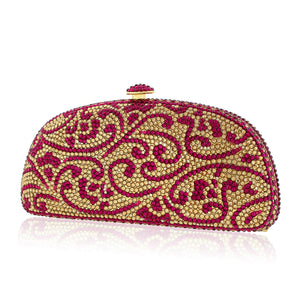 Magenta and Gold Clutch w/ Swarovski Crystals