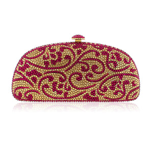 Magenta and Gold Swarovski Crystal Clutch