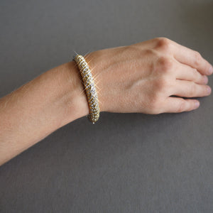 Zebra two tone swarovski crystal bangle bracelet
