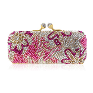 Floral Pink Swarovski Crystal Evening Clutch