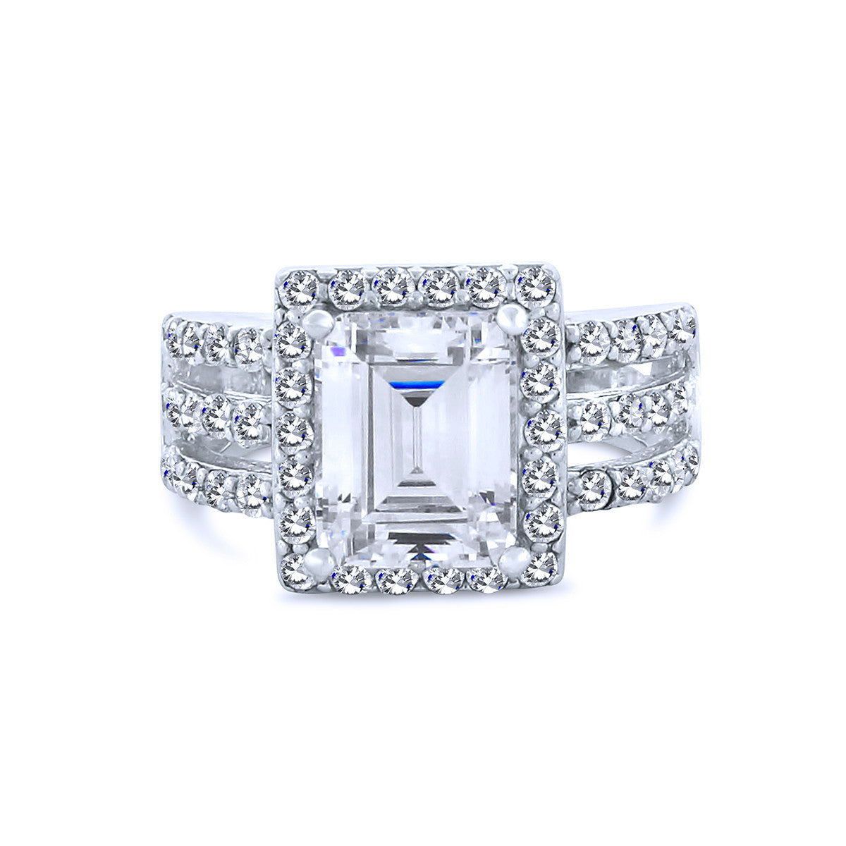 6K Emerald Cut Halo Chandi Diamond Ring w  Triple Band by Bobby Schandra 248b9045e