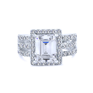 6K Emerald Cut Halo Chandi Diamond Ring w/ Triple Band by Bobby Schandra