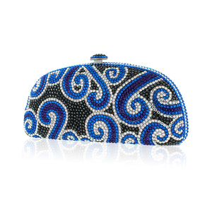 Paisley Blue and Black Swarovski Crystal Evening Clutch