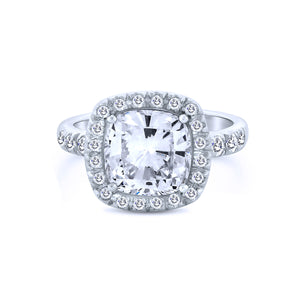 10K Cushion Cut Chandi Diamond Ring w/ Halo by Bobby Schandra.