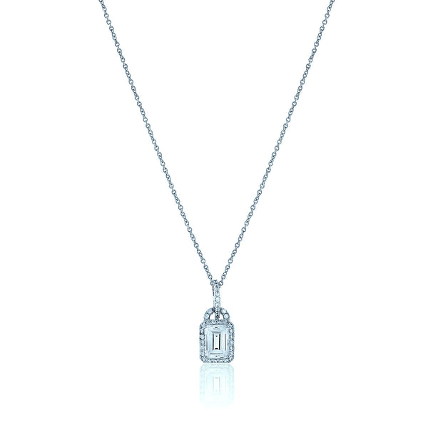 Rectangle Chandi Diamond Pendant Necklace w/Halo