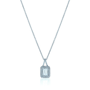 Rectangle Chandi Diamond Pendant Necklace w/Double Halo