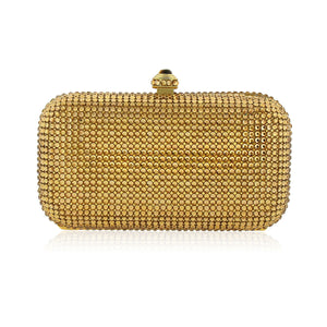 Gold Rectangle Swarovski Crystal Evening Clutch