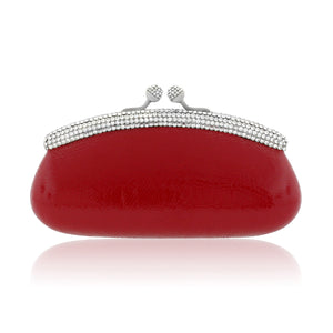 Red Patent Leather Evening Clutch w/ Swarovski Crystals