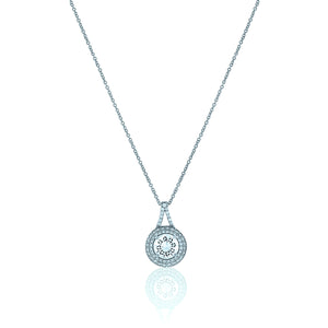 Round Chandi Diamond Circlet Pendant Necklace w/Double Halo