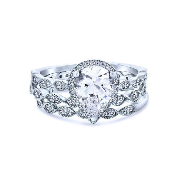 Silver Pear Shaped Chandi Diamond Ring w/Swarovski Crystal Halo by Bobby Schandra