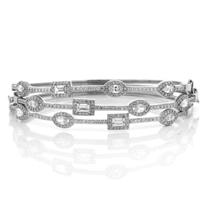 Silver Oval Rectangle Halo CZ Silver Bangle Bracelet
