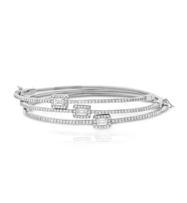 Silver Delicate Rectangle Halo CZ Bangle Bracelet