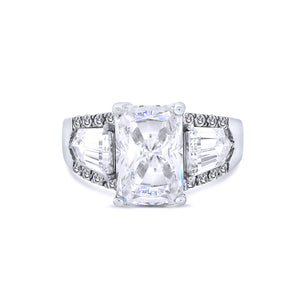 Silver Emerald Cut Chandi Diamond Ring w/ Swarovski Crystals by Bobby Schandra