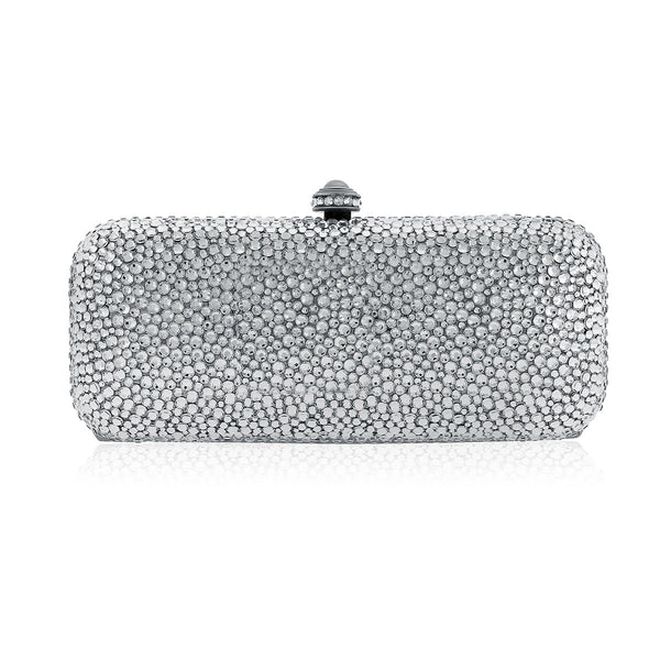 Classic Silver Rectangle Evening Clutch w/Swarovski Crystals