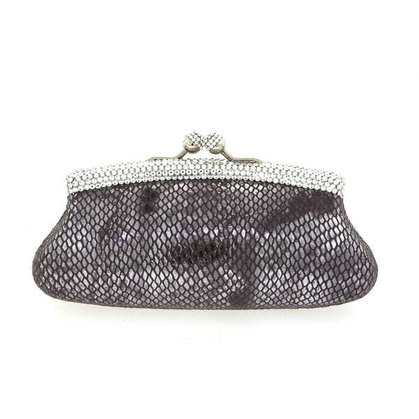 Silver and Black Snake Skin Clutch w/ Swarovski Crystals by Bobby Schandra