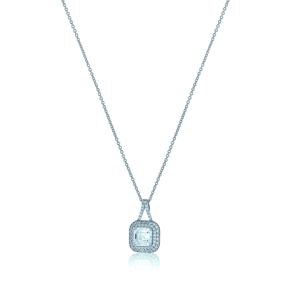 Square Chandi Diamond Circlet Pendant Necklace w/Double Halo