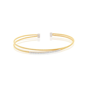 Stackable Chandi Diamond Gold Plated Cuff by Bobby Schandra