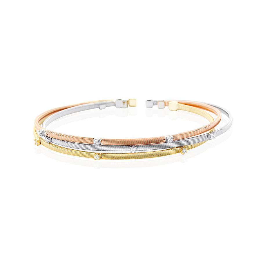 Chandi Diamond Gold Plated Multi-Colored Stackable Cuff by Bobby Schandra