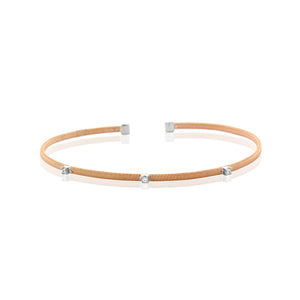 Rose Gold Plated Chandi Diamond Multi-Colored Stackable Cuff
