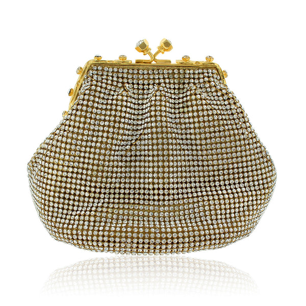 Gold Soft Mesh Clutch w/ Swarovski Crystals