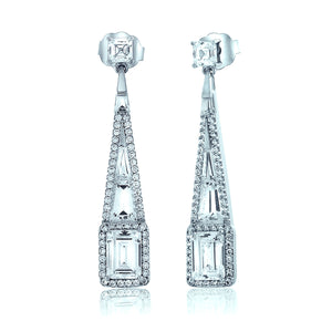 Silver Chandelier Earrings w/ Rectangle Chandi Diamonds