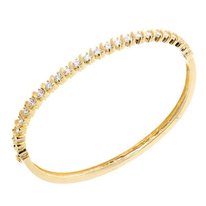 Chandi Diamond Accented Gold CZ Crystal Bangle Bracelet by Bobby Schandra