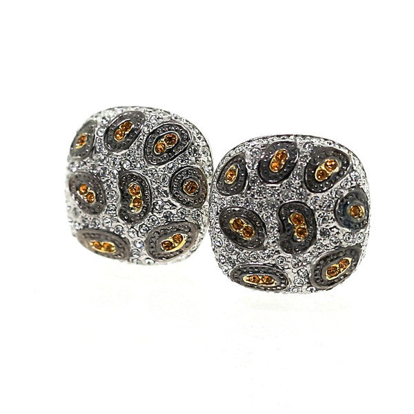 Animal Print Swarovski Crystal French Clip Earrings
