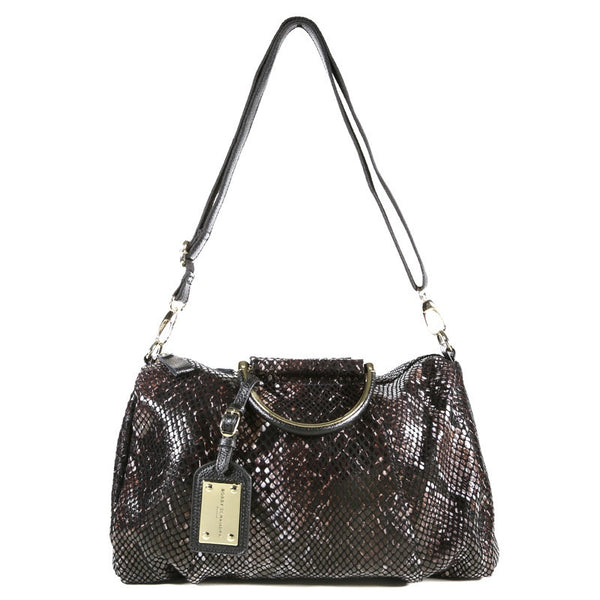 Patent Leather Snake Print Bag - Black/Brown