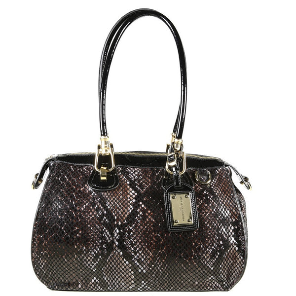 Patent Leather Snake Print Satchel Tote - Black/Brown