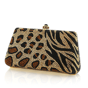 Black and Gold Animal Print Swarovski Crystal Evening Clutch by Bobby Schandra