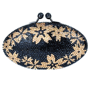 Black and Gold Swarovski Crystal Flower Clutch by Bobby Schandra