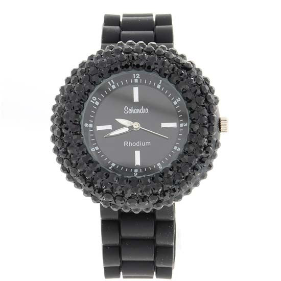 Black Crystal Encrusted Jelly Watch