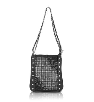 Black fadeout night on town crystal crossbody messenger bag
