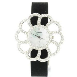 black flower swarovski crystal watch