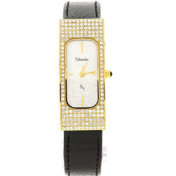 black and gold swarovski crystal leather watch