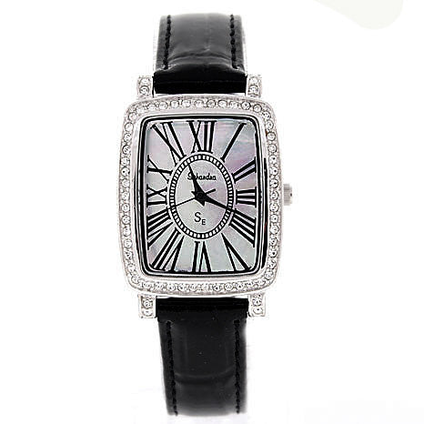black leather Swarovski Crystal Watch