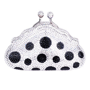 Black Clear Polka Dot Swarovski Crystal Evening Clutch